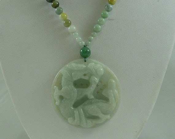 Jade Multi-Color Necklace with Dragon Pendant