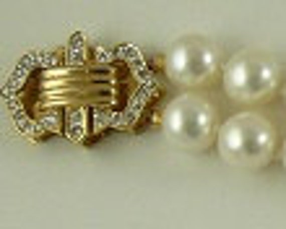 Freshwater Pearl Double Strand Bracelet with14k Yellow Gold Diamond Bars & Clasp