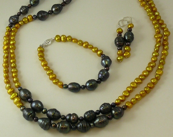 Freshwater Golden & Black Pearl Necklace,Bracelet and Earring Set with Silver Clasp
