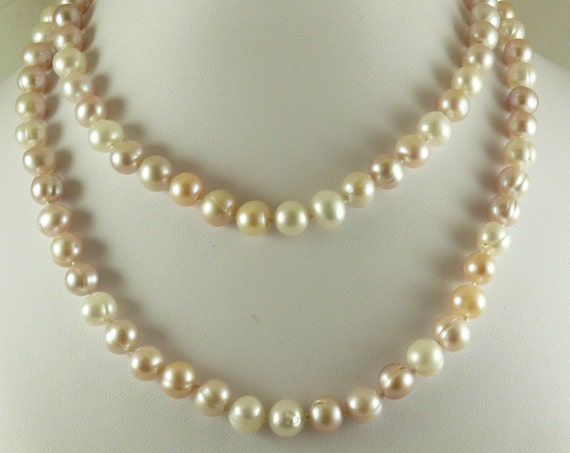 Freshwater Multi-Color 34 Inches Pearl Necklace with 14k Yellow Gold Fish Lock
