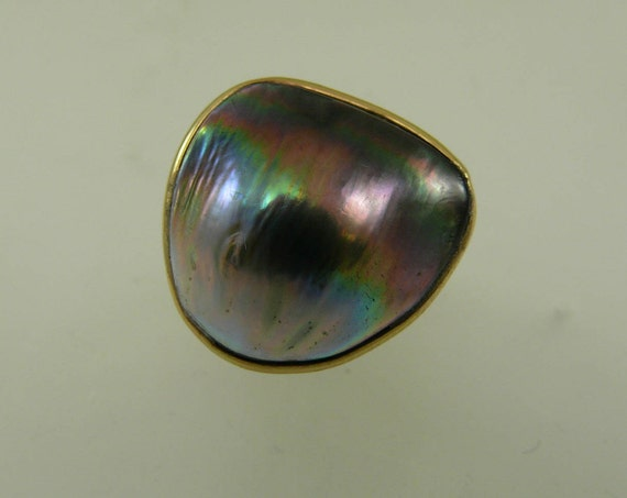 Abalone Pearl Ring 14k Yellow Gold