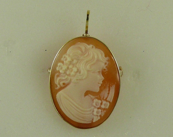 Cameo 20 mm x 30 mm Carnelian Shell Lady Pin and Pendant,14K Yellow Gold