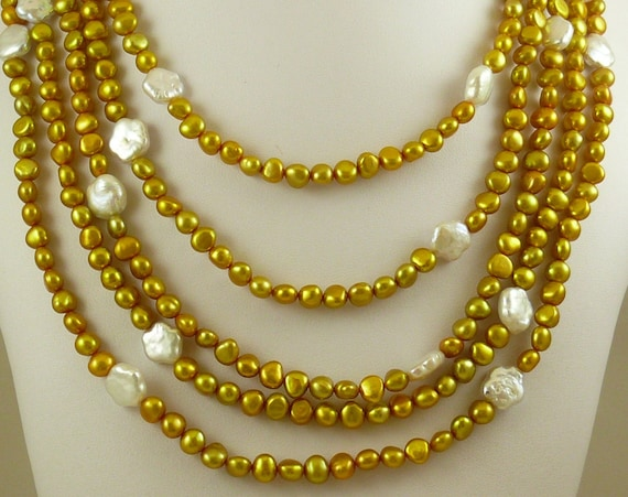 "Golden & White FreshWater Pearl Necklace,Sterling Silver Fish Lock 106"" Long"