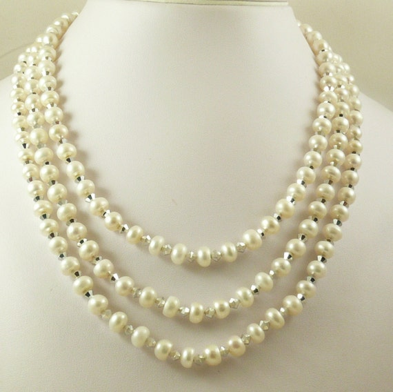 Freshwater White 4.8mmx7.2mm Pearl & Crystal Triple Strand Necklace Silver Lock