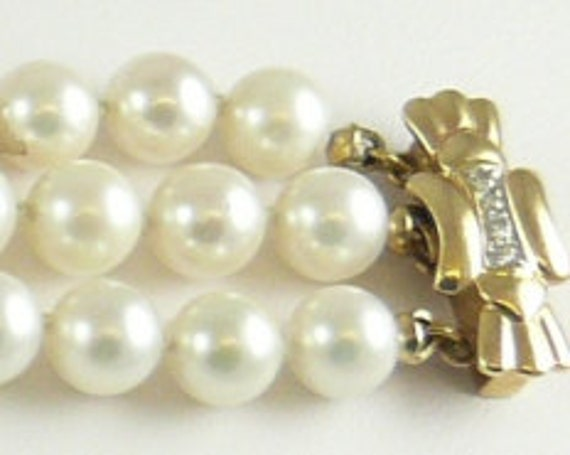 Cultured White 6mm - 6.5mm Pearl 14k Yellow Gold Clasp with Diamonds 0.12ct