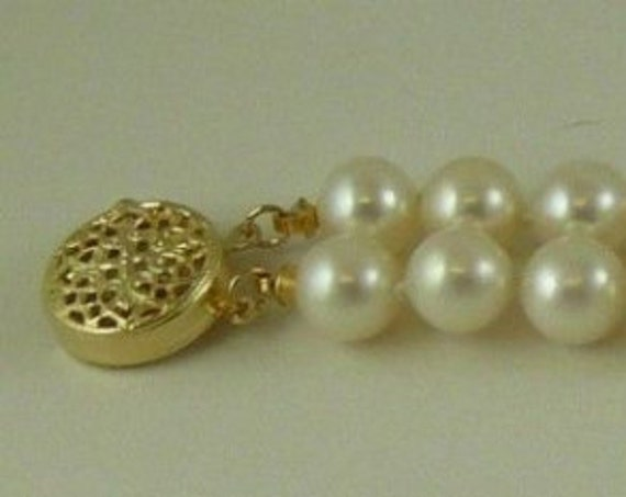 Freshwater 6.5mm -7.0mm Pearl Double Strand Bracelet,14k YellowGold Clasp and Bars