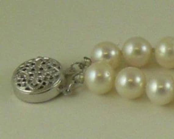 Freshwater 6.5mm -7.0mm Pearl Double Strand Bracelet,14k White Gold Clasp & Bars