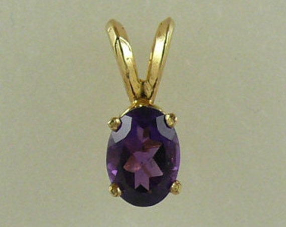 Amethyst 0.85ct Pendant 14k Yellow Gold