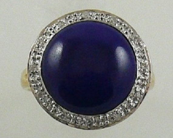 Lapis 12.7 mm Ring Diamonds 0.12ct 14k Yellow Gold