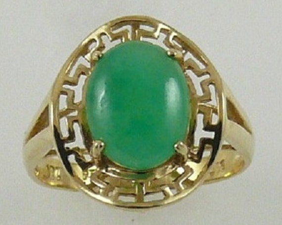 Jade 10.1 mm x 7.9 mm Ring 14k Yellow Gold