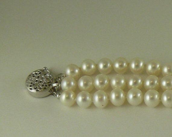 """Freshwater White Pearl Triple Strand Bracelet,14k White Gold Clasp & Bars 71/2"""""""