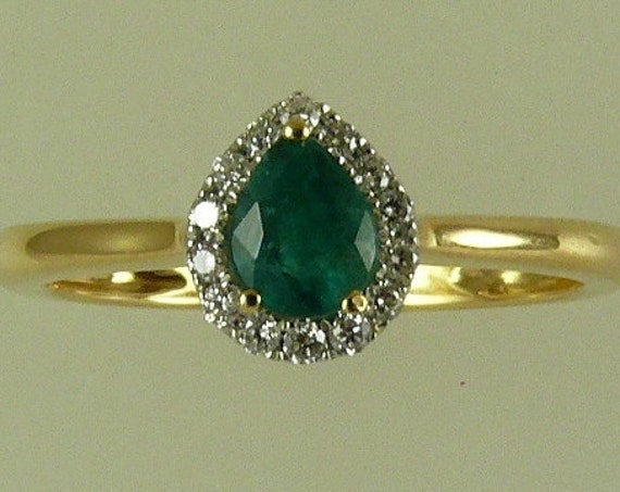 Emerald 0.30ct Ring with 18K Yellow Gold and Diamonds 0.09ct,Size Selectable