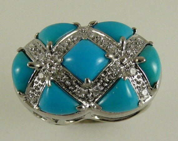 Reconstituted Turquoise Ring with Diamonds 0.14 ct 14k White Gold