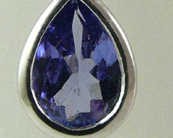 Tanzanite Pendant 0.65ct 14k White Gold with Diamonds 0.08ct