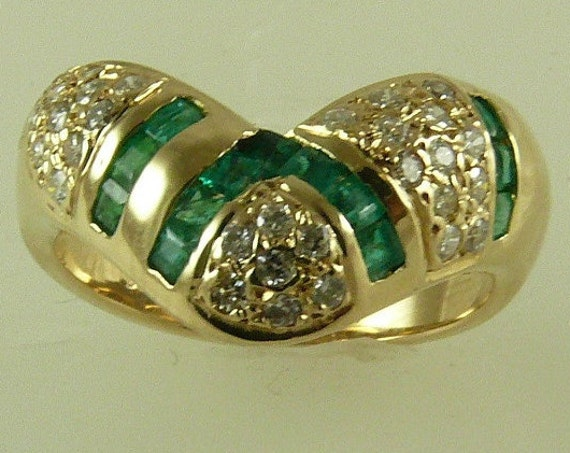 Emerald 0.40ct & Diamonds 0.45ct Ring 14k Yellow Gold