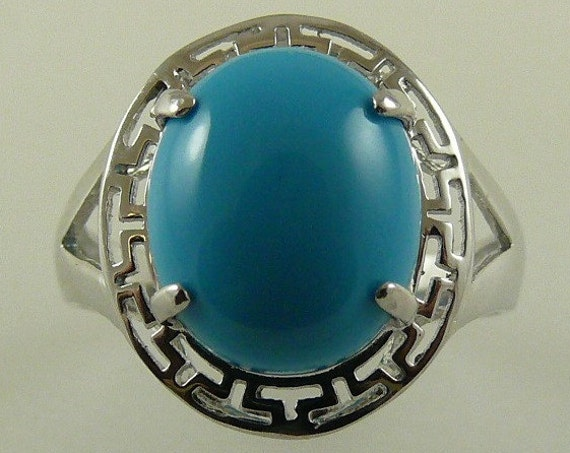 Reconstituted Turquoise 12 mm x 10 mm Ring 14k White Gold