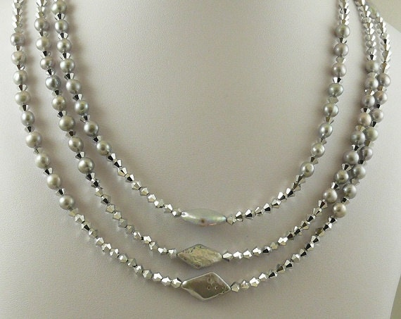 Freshwater Gray Pearls & Austrian Crystal Nested Necklace Sterling Silver Clasp