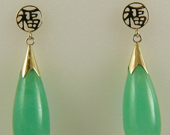 Green 20mm x 8mm Jade Dangle Earring 14k Yellow Gold Post and Push Backs
