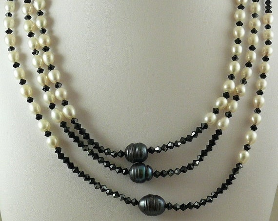 Freshwater White & Black Pearl with Black Austrian Crystal and Silver Clasp