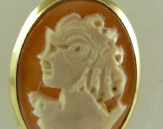 Cameo 12mm x 16mm Sardonyx Shell Pendant 14k Yellow Gold