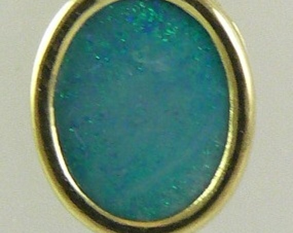 Opal Doublet Pendant Oval Shape 14k Yellow Gold