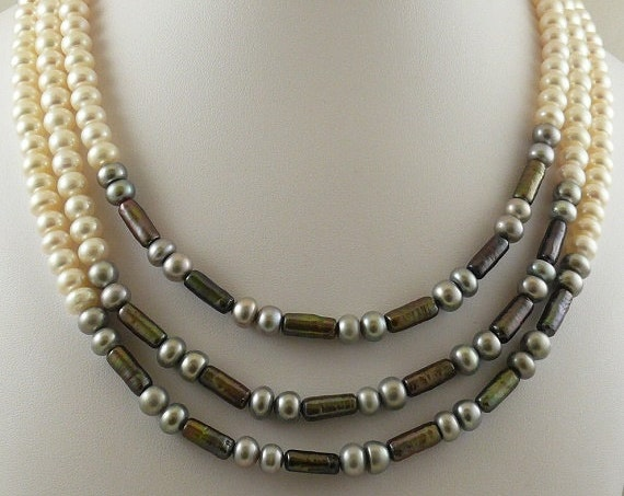 Freshwater Multicolor Pearl Triple Strand Necklace with Sterling Silver Clasp