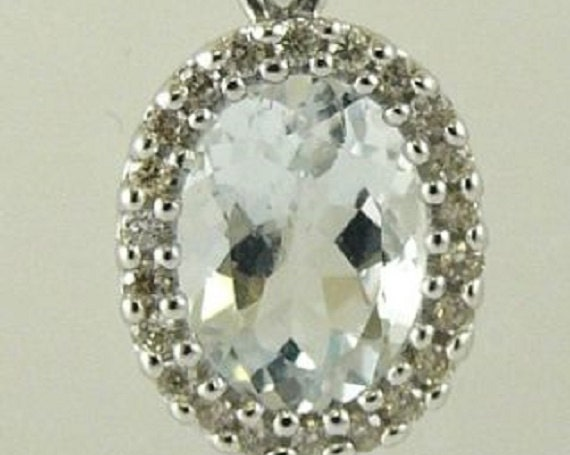 Aquamarine 1.10ct Pendant 14k White Gold and Diamonds 0.13ct