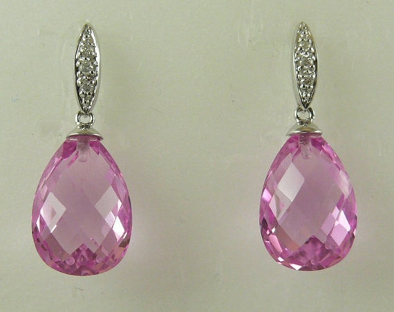 Pink Topaz 18.47ct Earring with Diamonds 14k White Gold