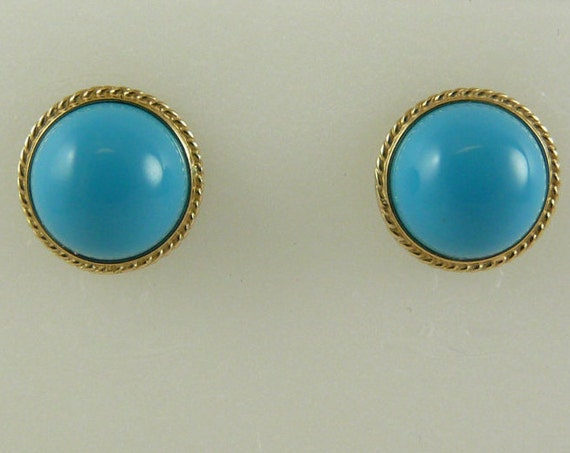 Reconstituted Turquoise 10 mm Stud Earring 18k Yellow Gold