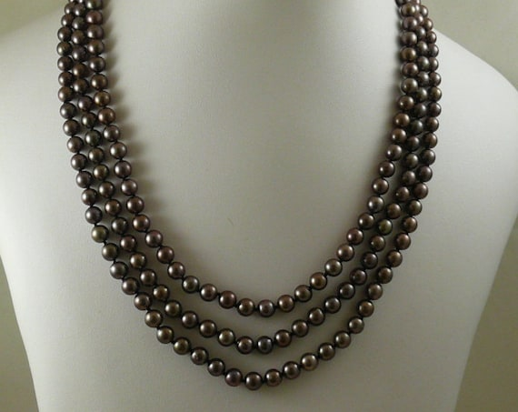 Akoya Black Pearl Triple Strand Necklace with 14k White Gold Clasp
