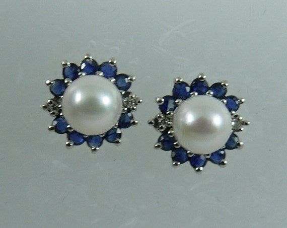 Akoya 6.2mm Pearl Earring & Sapphire 1.20ct and Diamond Jackets 14k White Gold