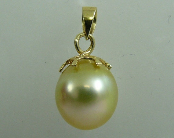South Sea Golden Drop Shape 10.6 x 12.3 mm Pearl Pendant 14k Yellow Gold
