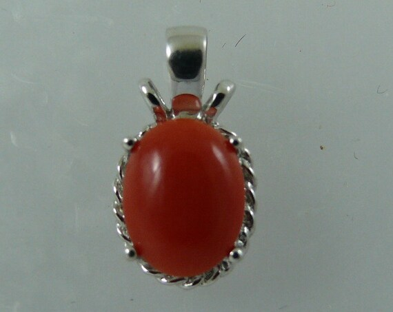 Coral Pendant with 14k White Gold