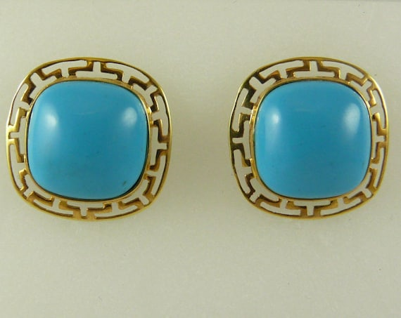 Reconstituted Turquoise 12 MM Stud Earring 14k Yellow Gold Post and Push Backs