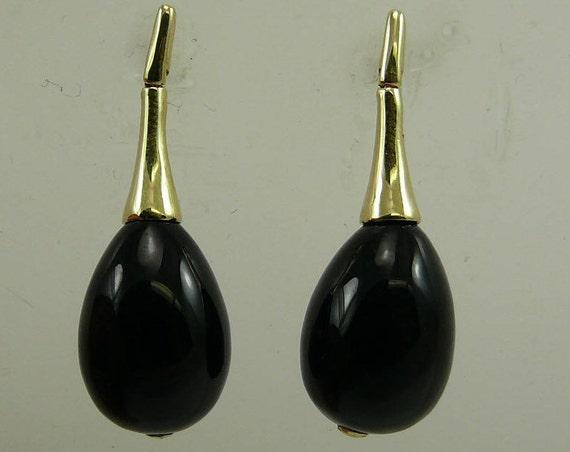 Black Onyx 10.0 MM x 14.0 MM Drop Earring 14k Yellow Gold