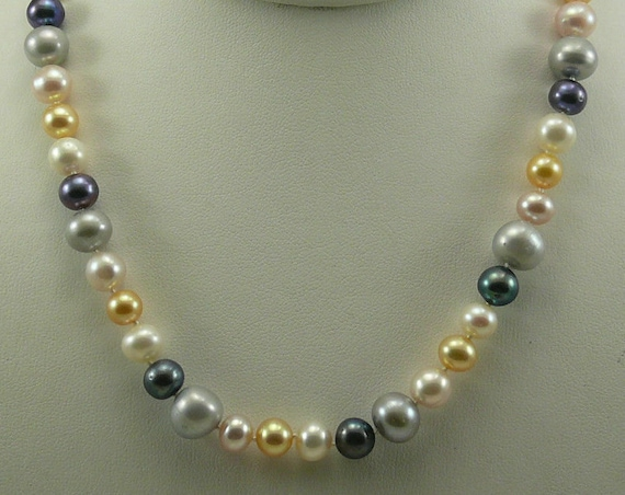 Cultured Freshwater Pearl Necklace 14k Yellow Gold Fish Lock 17 1/2 Inches Long