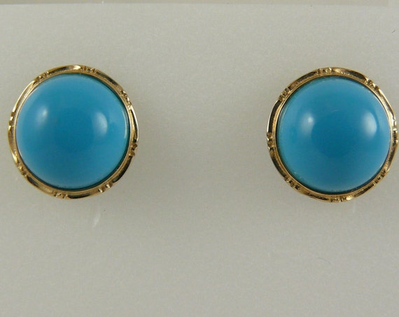 Reconstituted Turquoise 9.9 mm Stud Earring , 18k Yellow Gold
