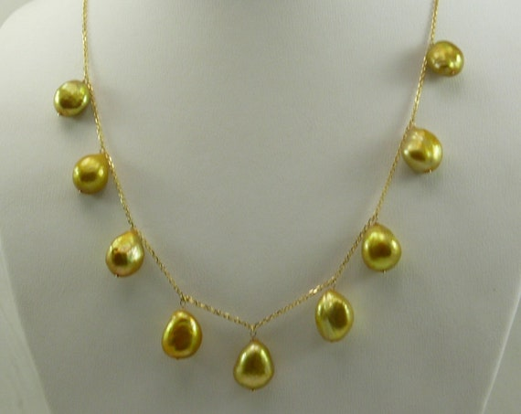 Freshwater Pearl Tin Cup Necklace 14k Yellow Gold Cable Chain 18 Inches