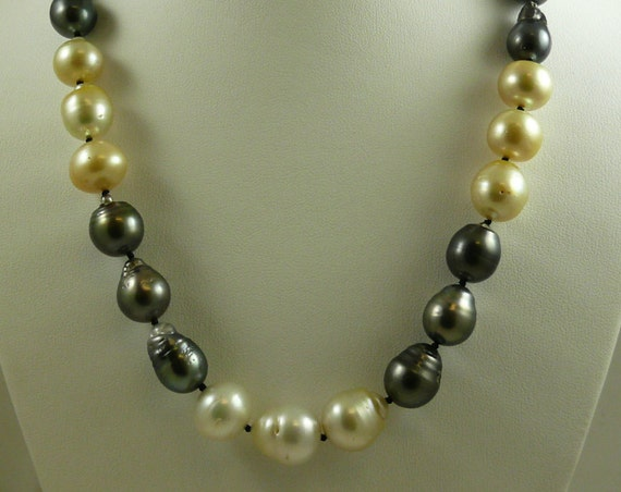 South Sea Multi-Color Baroque Pearl Necklace 14mm x 15.9mm 14K White Clasp