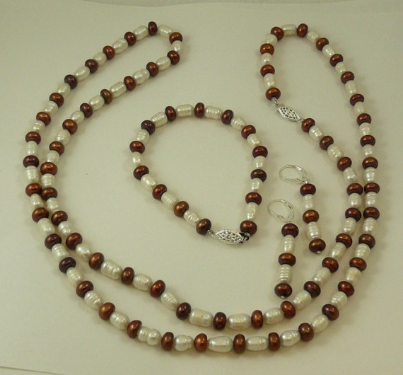 Freshwater White and Brown Pearl Necklace,Bracelet and Earring Set