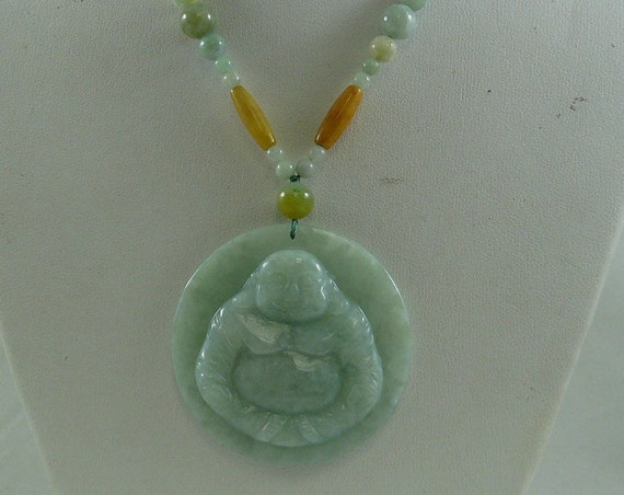 Jade Multi-Color Necklace with Buddha Pendant