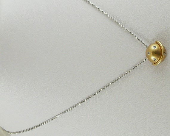 "Diamond 0.03ct Pendant Yellow Gold with 14k White Gold Chain 16"" Long"
