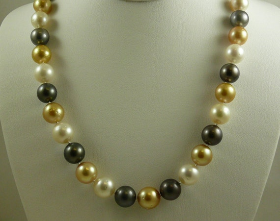 South Sea Multicolor Pearl Necklace 11.9x12mm - 11x10.7mm 14k Yellow Gold Clasp