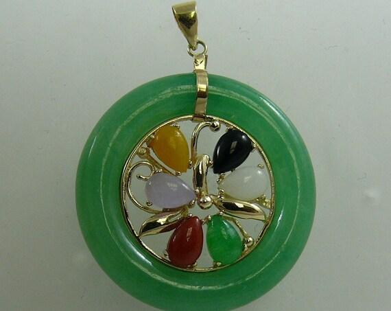 Green Jade and Black Onyx Pendant 14k Yellow Gold