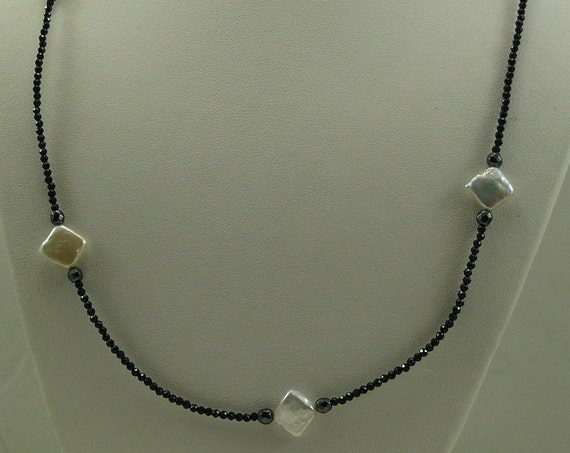 Freshwater Pearl, Black Spinel & Hematite Necklace with Sterling Silver Clasp