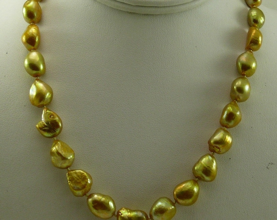 Freshwater Pearl Necklace 14k Yellow Gold 18 Inches