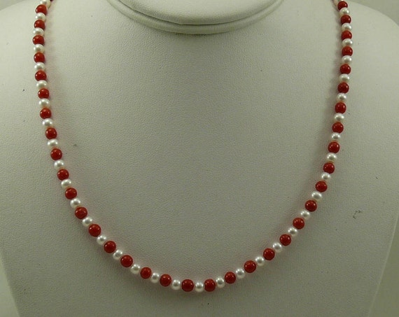 """Freshwater White Pearl and Italian Coral Necklace 14k White Gold Clasp 18.5"""""""