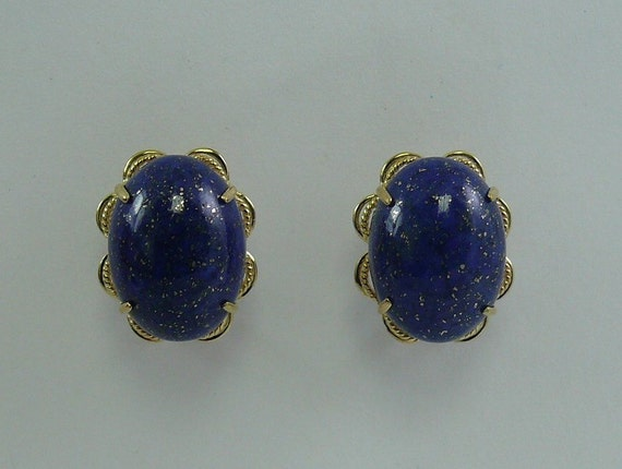 Lapis 16 mm x 12 mm Earring 14k Yellow Gold