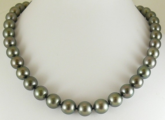 Tahitian Black 11.9mm - 10mm Round Pearl Necklace 14k White Gold Clasp 19""