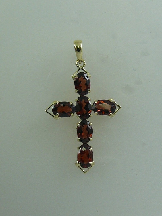 Garnet 3.43ct Cross Pendant With 14K Yellow Gold